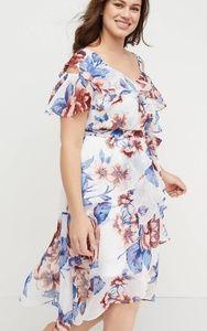 Lane Bryant Floral Ruffle Midi Dress, Size 18, NWT